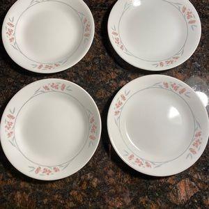 """4 Corelle Silk Blossom 6.75"""" Bread Plates"""